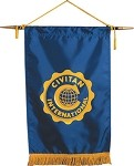 BLUE  SATIN PODIUM BANNER