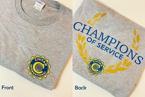 Small Champions Of Service Soft Gray T-Shirt