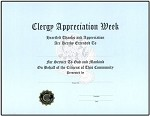 CLERGY APPRECIATION CERTIFICATE