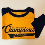 Large Gold and Navy Champions of Service Raglan Shirt